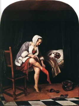 oil Works - The Morning Toilet 1665 Dutch genre painter Jan Steen